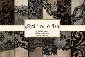 Aged Linen and Lace Digital Paper