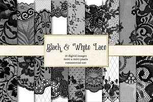 Black and White Lace Digital Paper