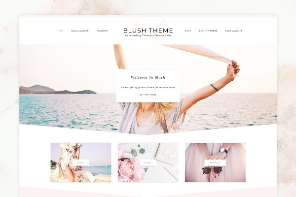 WordPress Themes: Paper Lotus - 50% SALE Blush WordPress Theme