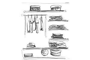 Hand drawn wardrobe sketch. Clothes on the hunger and shelves