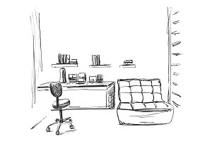Hand drawn workplace. Chair and computer sketch. Child room