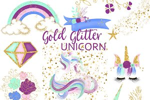 Gold Glitter Unicorn Clipart