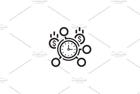 Time Management Icon Flat Design