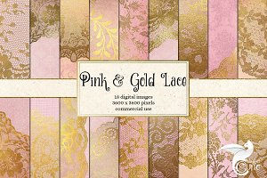 Pink and Gold Lace Digital Paper