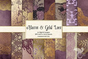 Mauve Purple & Gold Lace Backgrounds