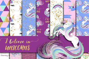 Gold Glitter Unicorn Digital Paper