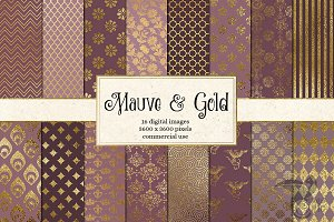 Mauve and Gold Digital Paper