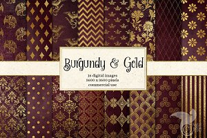 Burgundy and Gold Digital Paper