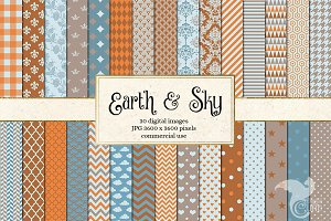 Earth and Sky Digital Paper Patterns
