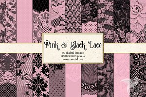 Pink and Black Lace Digital Paper