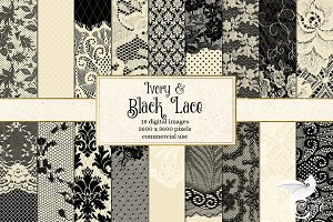 Ivory and Black Lace Digital Paper