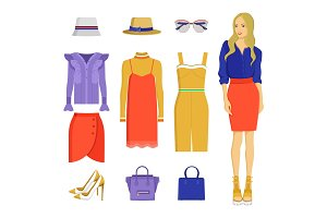 Set of Various Summer Clothes Colorful Banner