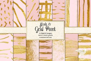Pink and Gold Paint Digital Paper