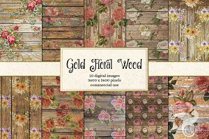 Gold Wood Floral Digital Paper
