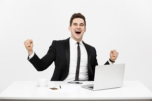 Office, business, technology, finances and internet concept - smiling businessman with laptop computer and documents at office isolated over white background.