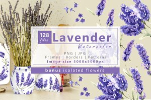 Wildflowers lavender PNG watercolor