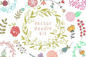 Great hand drawn doodle kit.