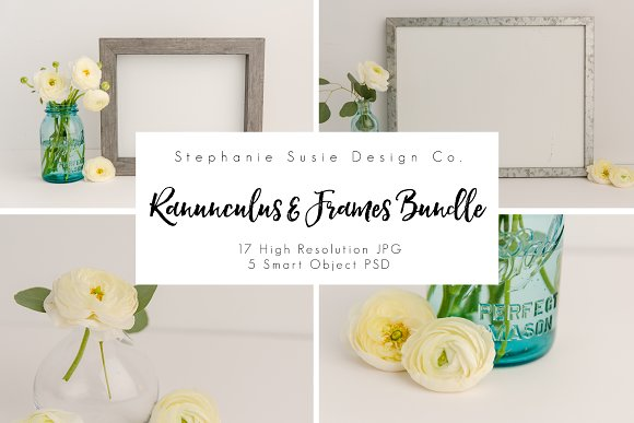 Ranunculus And Gray Frame Styled