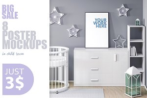 8 PSD frame mockup in child interior
