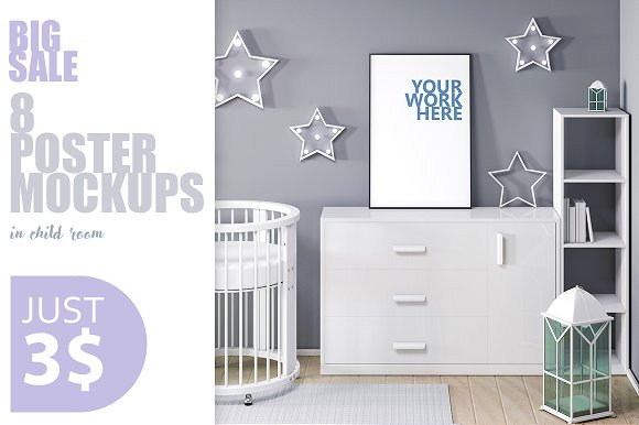 Download 8 PSD frame mockup in child interior