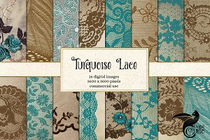 Turquoise Lace Digital Paper