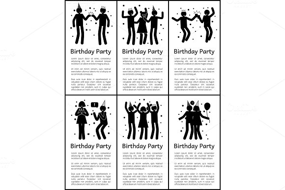 Birthday Party Vertical Posters With Sample Texts
