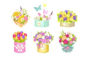 Boxes Bouquets and Butterflies Vector Illustration