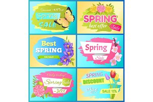 Best Offer Spring Sale Advert Labels Flowers Set