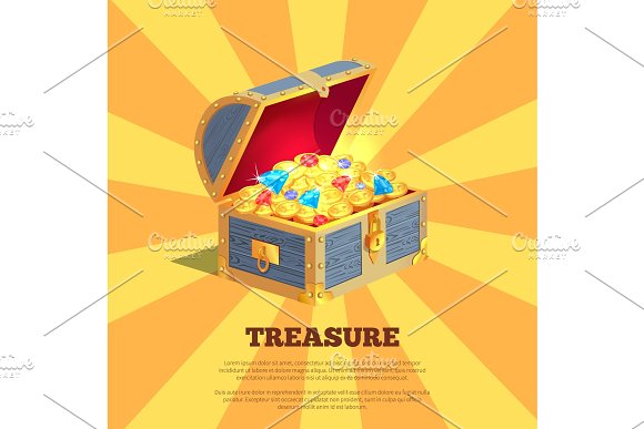 Treasure Poster With Wooden Chest Full Of Ancient Gold