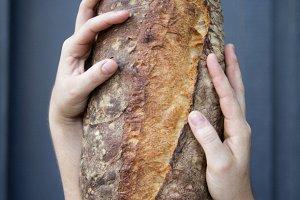 Chef holding artisian bread
