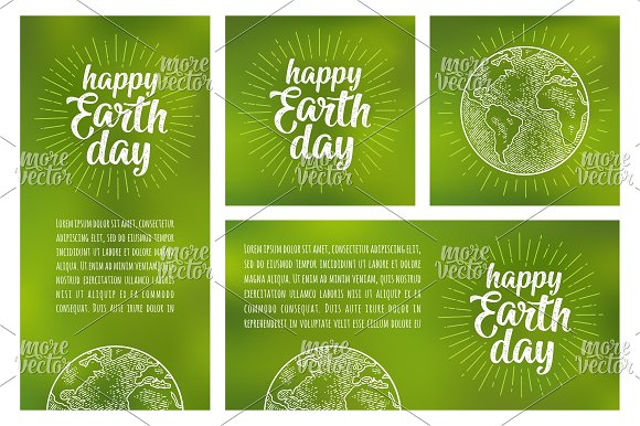 Happy Earth Day Lettering Engraving