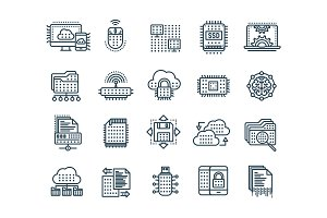 Cloud computing. Internet technology. Online services. Data, information security. Connection. Thin line black web icon set. Outline icons collection.Vector illustration.