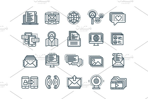 Communication Social Media Online Chatting Phone Call App Messenger Mobile Smartphone Computing.Email Thin Line Black Web Icon Set Outline Icons Collection Vector Illustration