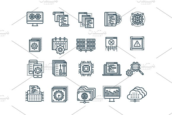 Seo And App Development Search Engine Optimization Internet E-commerce.Thin Line Black Web Icon Set Outline Icons Collection Vector Illustration