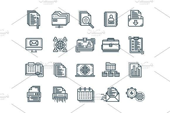 Business And Office Work Documents Paperwork Businessman Thin Line Black Web Icon Set Outline Icons Collection Vector Illustration