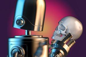 Robotic holding human skull