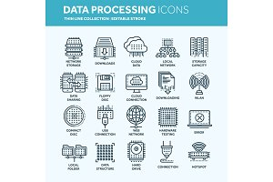 Cloud computing. Internet technology. Online services. Data, information security. Connection. Thin line web icon set. Outline icons collection.Vector illustration.