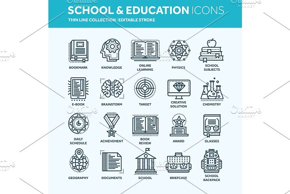School Education University Study Learning Process Oline Lessons Tutorial Student Knowledge History Book.Thin Line Web Icon Set Outline Icons Collection.Vector Illustration