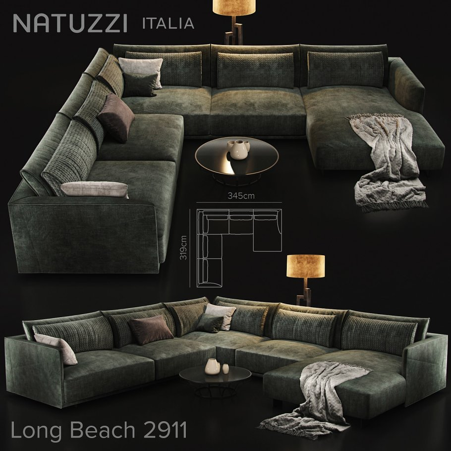 Sofa Natuzzi Longbeach 2911 Furniture Models Creative Market