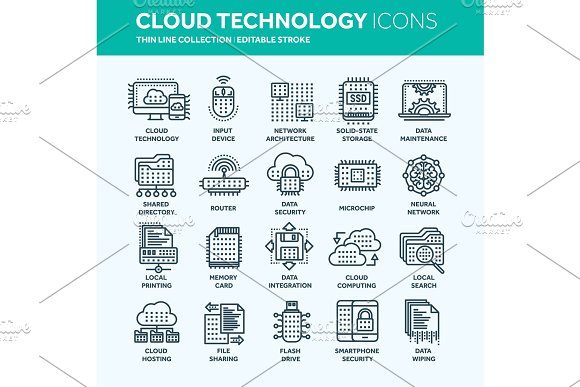 Cloud Computing Internet Technology Online Services Data Information Security Connection Thin Line Web Icon Set Outline Icons Collection.Vector Illustration