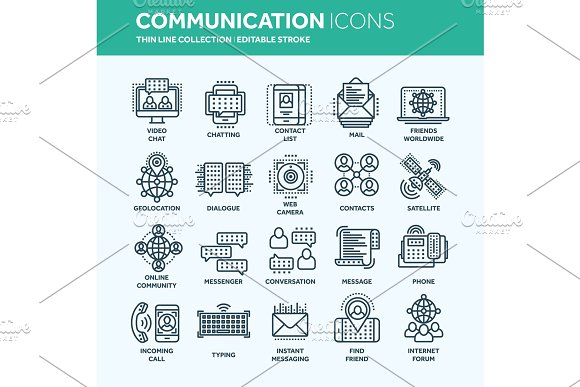 Communication Social Media Online Chatting Phone Call App Messenger Mobile Smartphone Computing.Email Thin Line Web Icon Set Outline Icons Collection Vector Illustration
