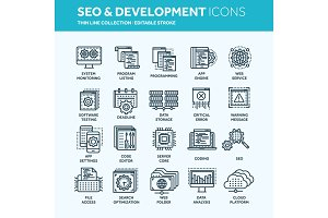 Seo and app development. Search engine optimization. Internet, e-commerce.Thin line web icon set. Outline icons collection. Vector illustration.