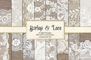 Natural Burlap and Lace Textures