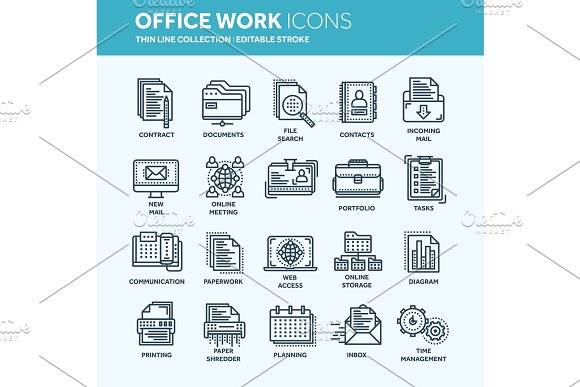 Business And Office Work Documents Paperwork Businessman Thin Line Web Icon Set Outline Icons Collection Vector Illustration