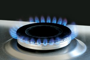 Natural gas burning on gas stove