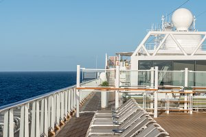 Row of loungers on cruise ship deck