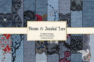 Denim and Jeweled Lace Digital Paper