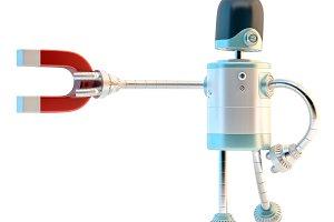 Robot with magnet. 3D illustration.