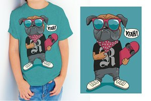 skater comic dog vector design