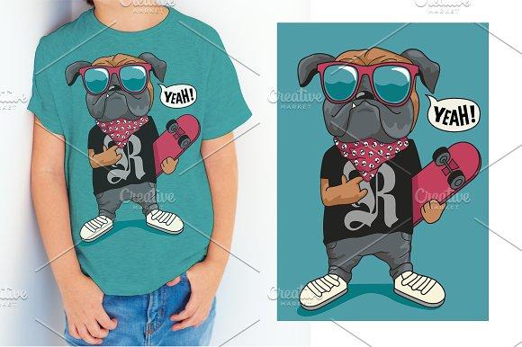 Skater Comic Dog Vector Design